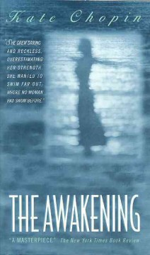 The Awakening cover, blue with the outline of a woman standing with arms spread wide.