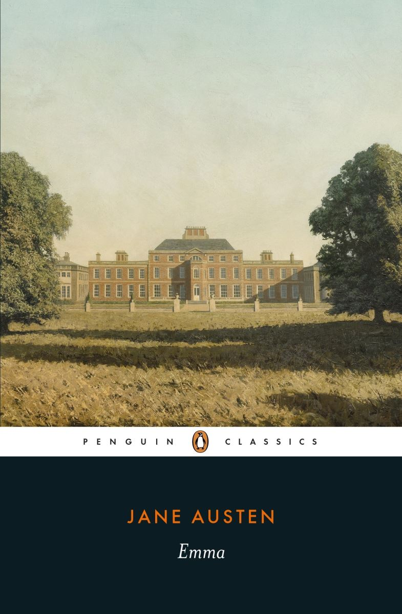 Cover of Emma by Jane Austen, with a view of a large manor house